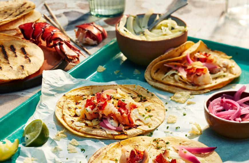 Lobster Tacos with Fennel Slaw and Crushed Potato Chips